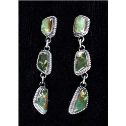 Navajo Pilot Mountain Turquoise Handmade Earrings