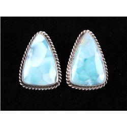 Navajo E. Kee Sterling Silver & Larimar Earrings