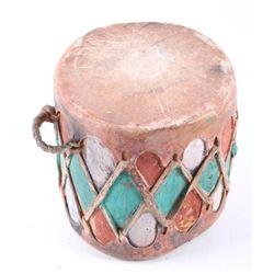 Cochiti Painted Wood & Rawhide Drum c. 1900