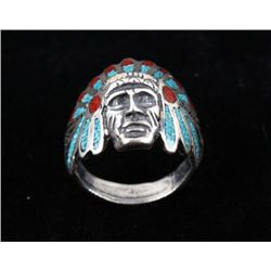 Navajo Sterling Silver & Chip Inlay Chieftain Ring