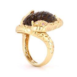 Champagne Quartz & Ruby 14k Gold Snake Ring