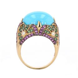 Turquoise & Sapphire Diamond 14k Gold Ring