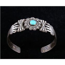 Navajo Fred Harvey Sterling & Turquoise Bracelet