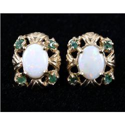 Lightning Ridge Opal & Emerald 10K Gold Earrings