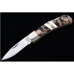 Rare Onyx, Abalone & MOP Bronze Damascus Knife