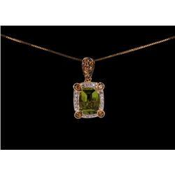 Peridot Yellow Sapphire Diamond 14k Gold Necklace