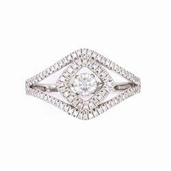 Opulent Round Diamond 18k White Gold Ring