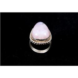 Navajo Pink Moonstone & Sterling Silver Ring