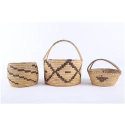 Collection of Three Papago Indian Woven Baskets