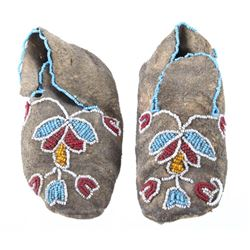 Crow Whimsical Beaded Hard Soled Moccasins 1890