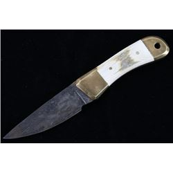 W Redd Cable Damascus Antler Grip Camp Knife