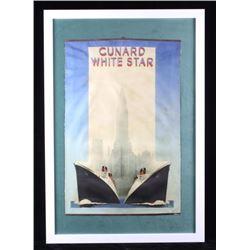 Cunard White Star Framed Advertising Banner
