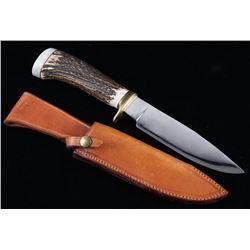 Signed Antler Handle Drop Point Knife & Sheath