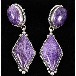 Navajo E. Kee Sterling Silver Charoite Earrings