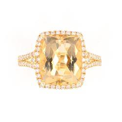 Yellow Beryl and Diamond 14K Gold Ring