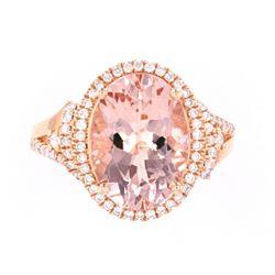 Morganite (5.30ct) & Diamond 14K Rose Gold Ring