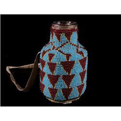 Northern Cheyenne Fully Beaded Glass Bottle 1800's