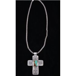 Navajo Sterling & Turquoise Cross Pendant Necklace