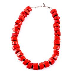 Navajo Sterling & Ox Blood Coral Nugget Necklace