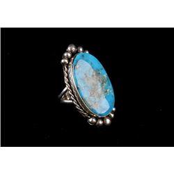 Navajo Sterling Silver & Kingman Turquoise Ring