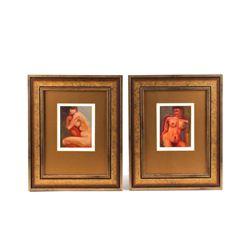 C.S. Poppenga Framed Pair Oil on Paper Nude Women
