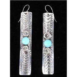 Navajo H Joe Kingman Turquoise & Sterling Earrings