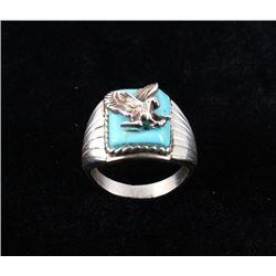 Navajo Kingman Turquoise & Sterling Eagle Ring