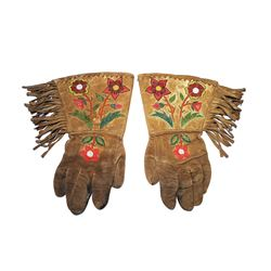 Blackfoot Beaded Hide Gauntlet Gloves c. 1880-1900