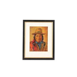 Original Sioux Sitting Bull Painting by M. Hart