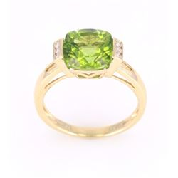 Green Peridot and Diamond 14K Gold Ring