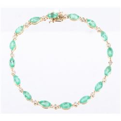 Natural Emerald (5.62ct) & Diamond 14K Bracelet
