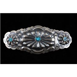 Navajo Sterling & Kingman Turquoise Hair Clip