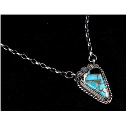 Navajo Sterling Silver & Spiny Turquoise Necklace