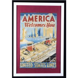 1920s United States Line Framed Advertising Banner
