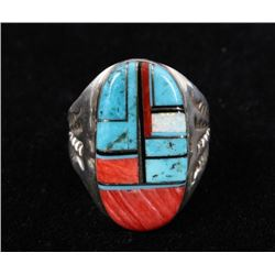 Navajo Mosaic Inlay Sterling Silver Ring