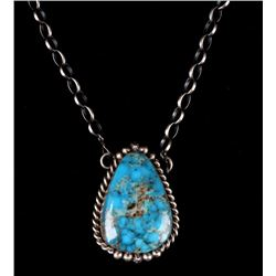 Navajo B Lee Sterling & Kingman Turquoise Necklace