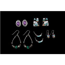 Navajo Sterling Silver Mosaic Earring Collection