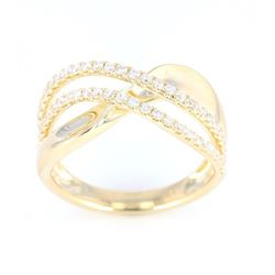Modern 14K Gold and Diamond Wave Ring