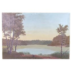 F. Nielsen Original Lake Landscape Oil Painting