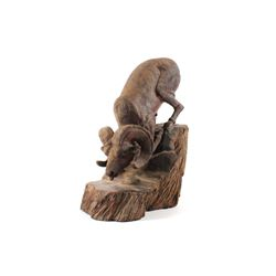 North American Bighorn Sheep Solid Wood Sculpture