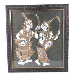 India Hindi Musician Figures Framed Painting