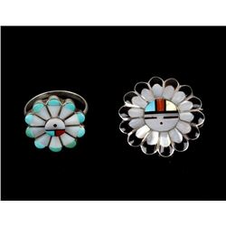 Zuni Sterling Silver Multi Stone Inlaid Ring & Pin