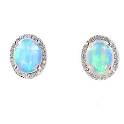 Ethiopian Opal & Diamond Stud Earrings in 14K Gold