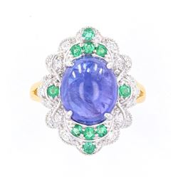 Tanzanite (7.28ct) Emerald & Diamond 18K Ring
