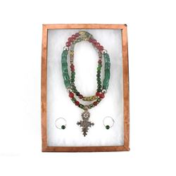Exotic Trade Beads Necklace & Jade Earrings