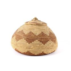 African Ivory Coast Hand Woven Papyrus Basket