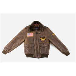 Boy's Leather Jacket w/ Airforce & US Flag Patches