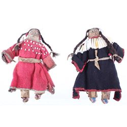 Crow Beaded Hide Dolls (Two) w/ Dentilium 19th C.