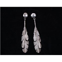 Navajo Lena Platero Sterling Feather Earrings