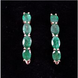 3.54ct Natural Emerald & 18K Yellow Gold Earrings